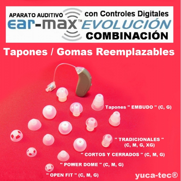 EAR MAX® EVOLUCIÓN - COMBINACIÓN Open Fit / Closed Power Dome (RIE) –  DISCRETO CURVETA con Controles Digitales