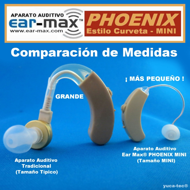 Ear Max® PHOENIX MINI Aparato Auditivo Auxiliar – Estilo Curveta