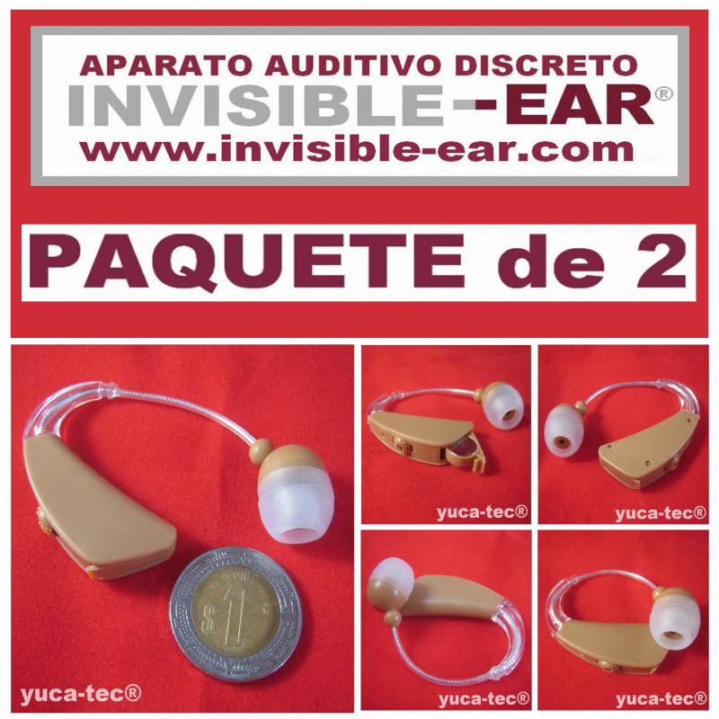 Paquete de 2 INVISIBLE-EAR® Aparatos Auditivos Discreto