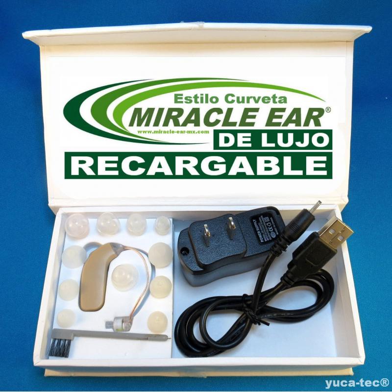 MIRACLE EAR® DE LUJO Aparato Auditivo RECARGABLE Curveta