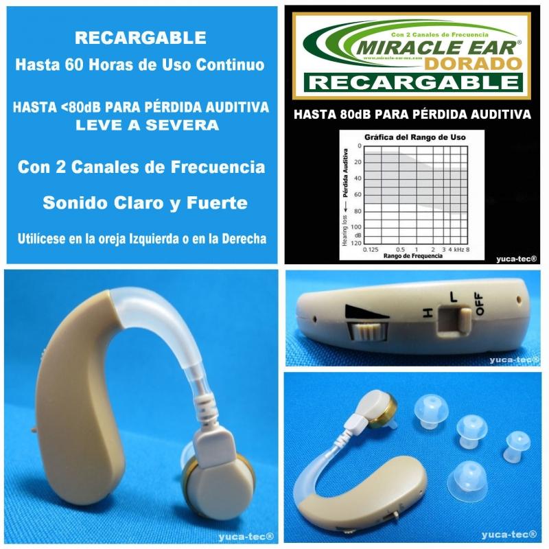 MIRACLE EAR® DORADO RECARGABLE Aparato Auditivo Con 2 Canales de Frecuencia